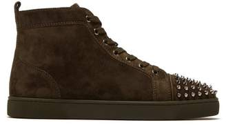 Christian Louboutin Lou Spike Embellished Suede High Top Trainers - Mens - Khaki