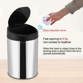 Rubbish HURRISE Stainless Steel Automatic Sensor Dustbin Waste Bin Battery Powered Trash Can,Sensor Garbage Can,Sensor Trash Bin