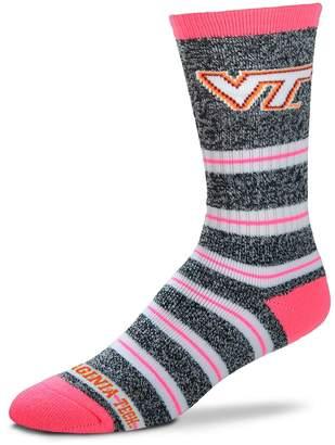 For Bare Feet Women's Virginia Tech Hokies Striped Crew Socks