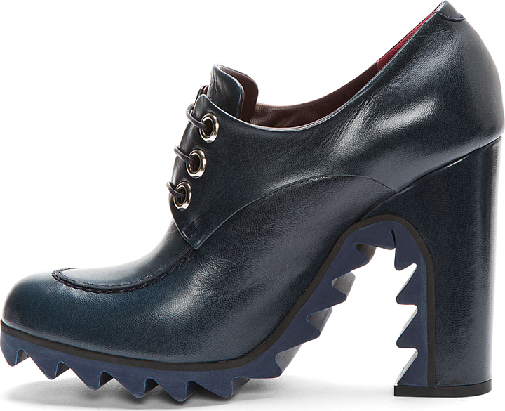 Jil Sander Navy Leather Lace-Up Derby Boots