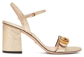 74b221e7a20 Gucci Gg Marmont Metallic Leather Sandals - Womens - Gold