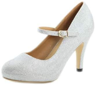 Bella Marie Helena-13 Women's Almond Toe Low Heel Mary Jane Glitter Or Suede Pumps 8