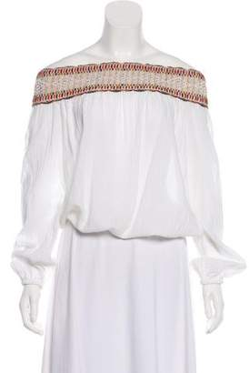 Tory Burch Off-The-Shoulder Embroidered Top