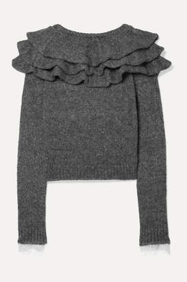 Philosophy di Lorenzo Serafini Ruffled Lace-trimmed Knitted Sweater - Gray