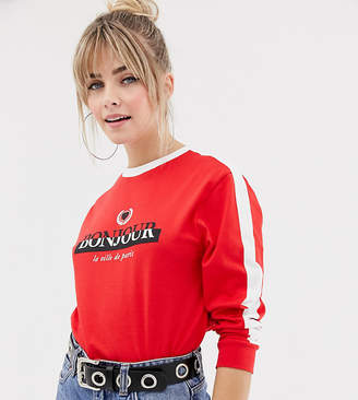 New Look long sleeve tee with slogan in red