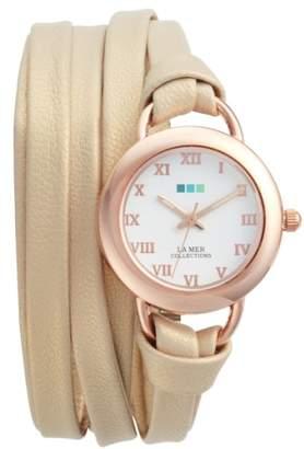 La Mer Saturn Wrap Leather Strap Watch, 25mm