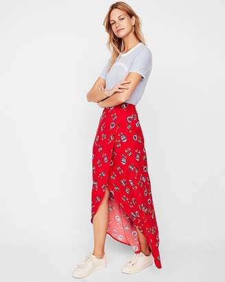Express Floral Wrap Maxi Skirt