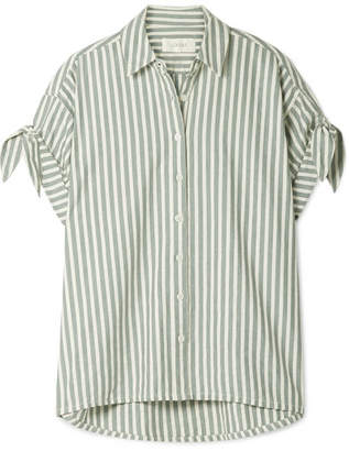 The Great The Tie Striped Cotton-twill Shirt - Gray green