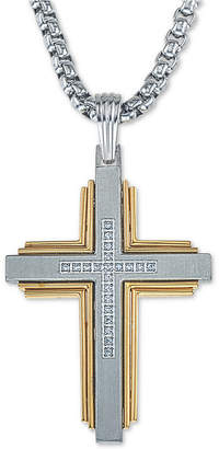 """Esquire Men's Jewelry Diamond Cross 22"""" Pendant Necklace (1/10 ct. t.w.) in Stainless Steel & Ion-Plate"""