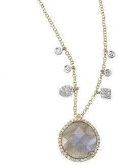 Meira T Diamond, Blue Labradorite, 14K Yellow& White Gold Pendant Necklace