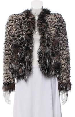 Marc Jacobs Fox-Trimmed Kalgan Fur Jacket