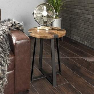 "Manor Park 18"" Urban Industrial Wood and Metal Wrap Round Side Table - Dark Walnut"