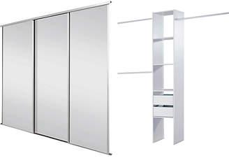 Sliding Wardorbe Door Kit W2692mm White Frame Mirror+Storage