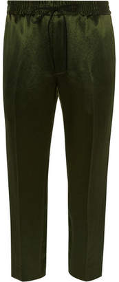 Gucci Tapered Webbing-Trimmed Satin-Twill Drawstring Trousers - Men - Dark green