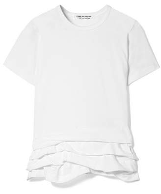 Comme des Garcons Pleated Cotton-jersey T-shirt - White