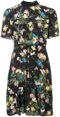 Erdem Anne Short Sleeve Dress w/ Hem Flounce &Tied Waist
