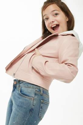 Forever 21 Girls Faux Leather Combo Bomber Jacket (Kids)