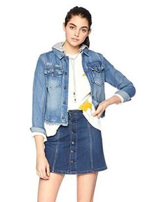 Silver Jeans Co. Women's Denim Jacket with Knit Hood