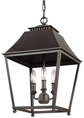 Feiss Galloway 3 Light Pendant in Dark Antique Copper And Antique Copper