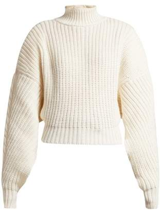 A.w.a.k.e. - Cropped Button Back Ribbed Knit Wool Sweater - Womens - Cream