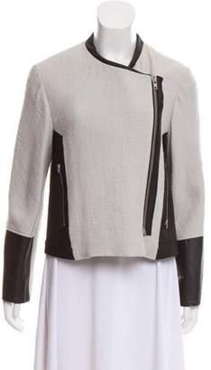Helmut Lang Leather-Trimmed Textured Jacket
