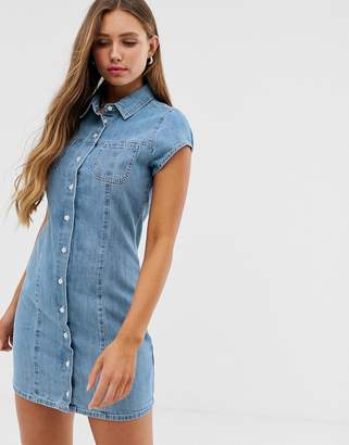Asos Design DESIGN soft denim short sleeve shirt dress midwash blue