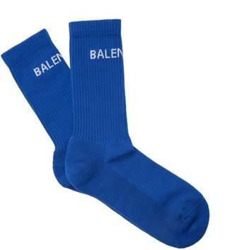 Balenciaga - Logo Cotton Blend Socks - Mens - Blue