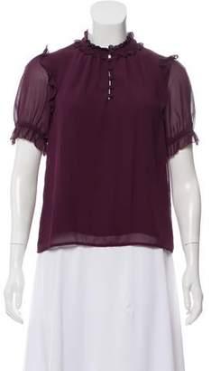 Rebecca Minkoff Short Sleeve Ruffle-Accented Top