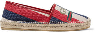 Gucci Pilar Leather-trimmed Striped Logo-print Canvas Espadrilles - Navy
