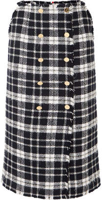 Thom Browne Checked Wool-blend Tweed Midi Skirt - Midnight blue