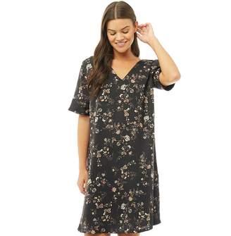 Jacqueline De Yong Womens Felice 2/4 Dress Black/Small Flower