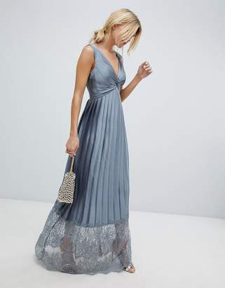 Little Mistress pleated maxi dress with lace hem detail