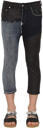 Rick Owens Cropped Waxed Cotton Denim Jeans