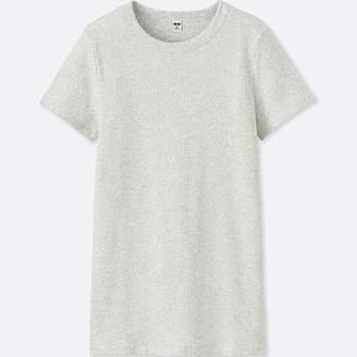 Uniqlo Women's Supima Cotton Ribbed Crew Neck Short-sleeve T-Shirt