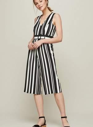 Miss Selfridge Petite striped belted jumpsuit