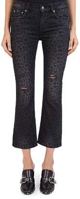 The Kooples Distressed Cropped Jeans in Leopard Black
