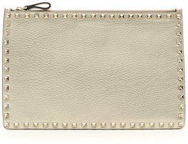 Valentino Rockstud Large Flat Metallic Clutch Bag