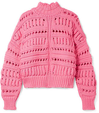 Isabel Marant Zoe Oversized Open-knit Cotton-blend Turtleneck Sweater - Pink