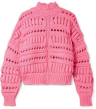 0979246261 Isabel Marant Zoe Oversized Open-knit Cotton-blend Turtleneck Sweater - Pink
