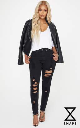 PrettyLittleThing Shape Black Extreme Rip Skinny Jeans