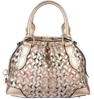 Burberry Woven Nova Check Metallic Satchel