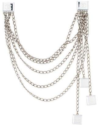 Chanel CC Mirrored Multistrand Collar Clip