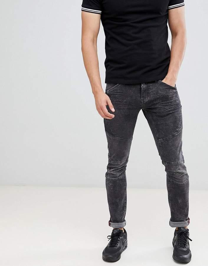 Blend black washed skinny biker jeans