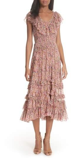 Margo Floral Ruffled Midi Dress
