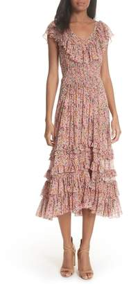 Rebecca Taylor Margo Floral Ruffled Midi Dress