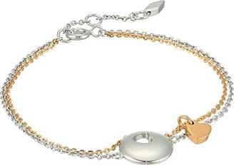 Fossil Women's Duo Heart Two-Tone Sterling Silvers Bracelet