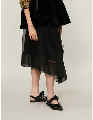 Simone Rocha Flower-appliqué tulle skirt