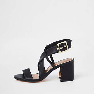 River Island Black strappy wide fit block heel sandals