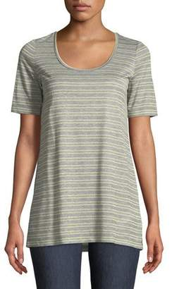 Lafayette 148 New York Kristen Metallic-Stripe Heathered T-Shirt