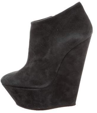 Giuseppe Zanotti Suede Platform Wedge Ankle Boots